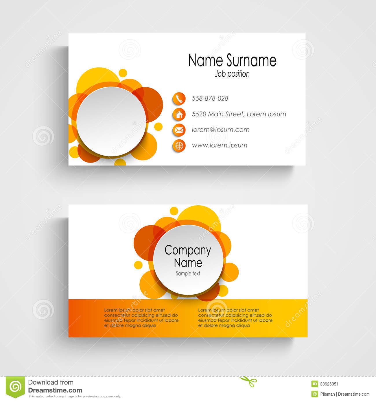 Modern orange round business card template stock vector modern orange round business card template fbccfo Gallery