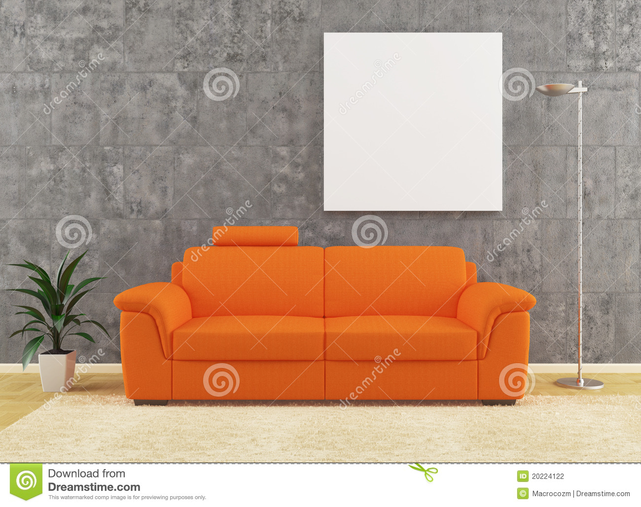 Modern Orange Sofa On Dirty Wall Interior Design Stock
