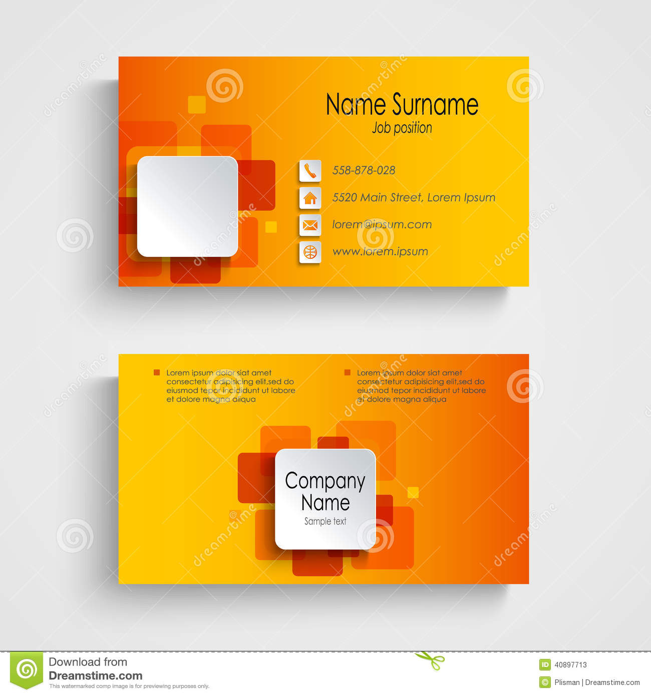 Modern orange square business card template stock vector for Eps business card template