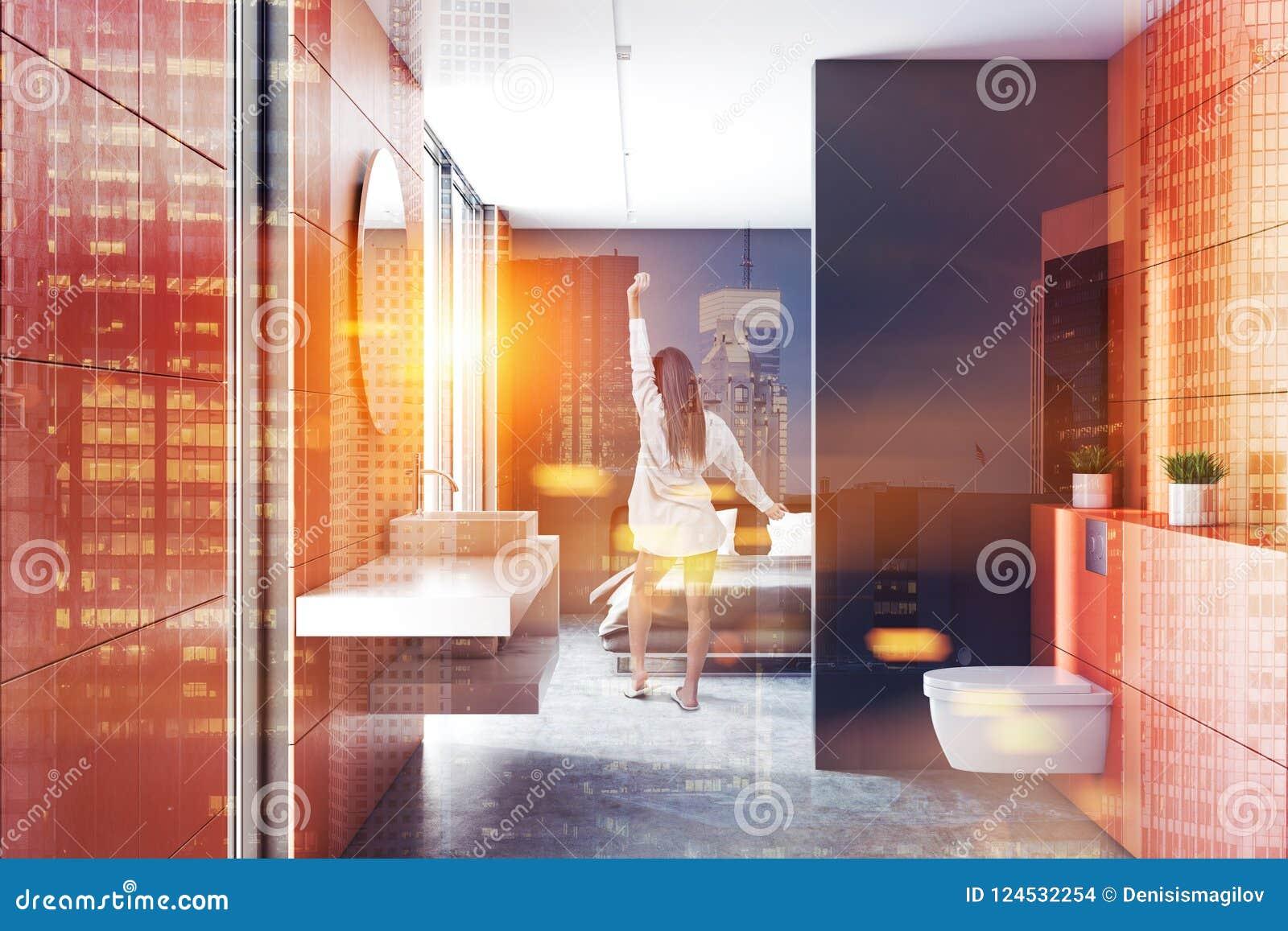 Orange Bathroom Gray Bedroom Interior Woman Stock Photo Image