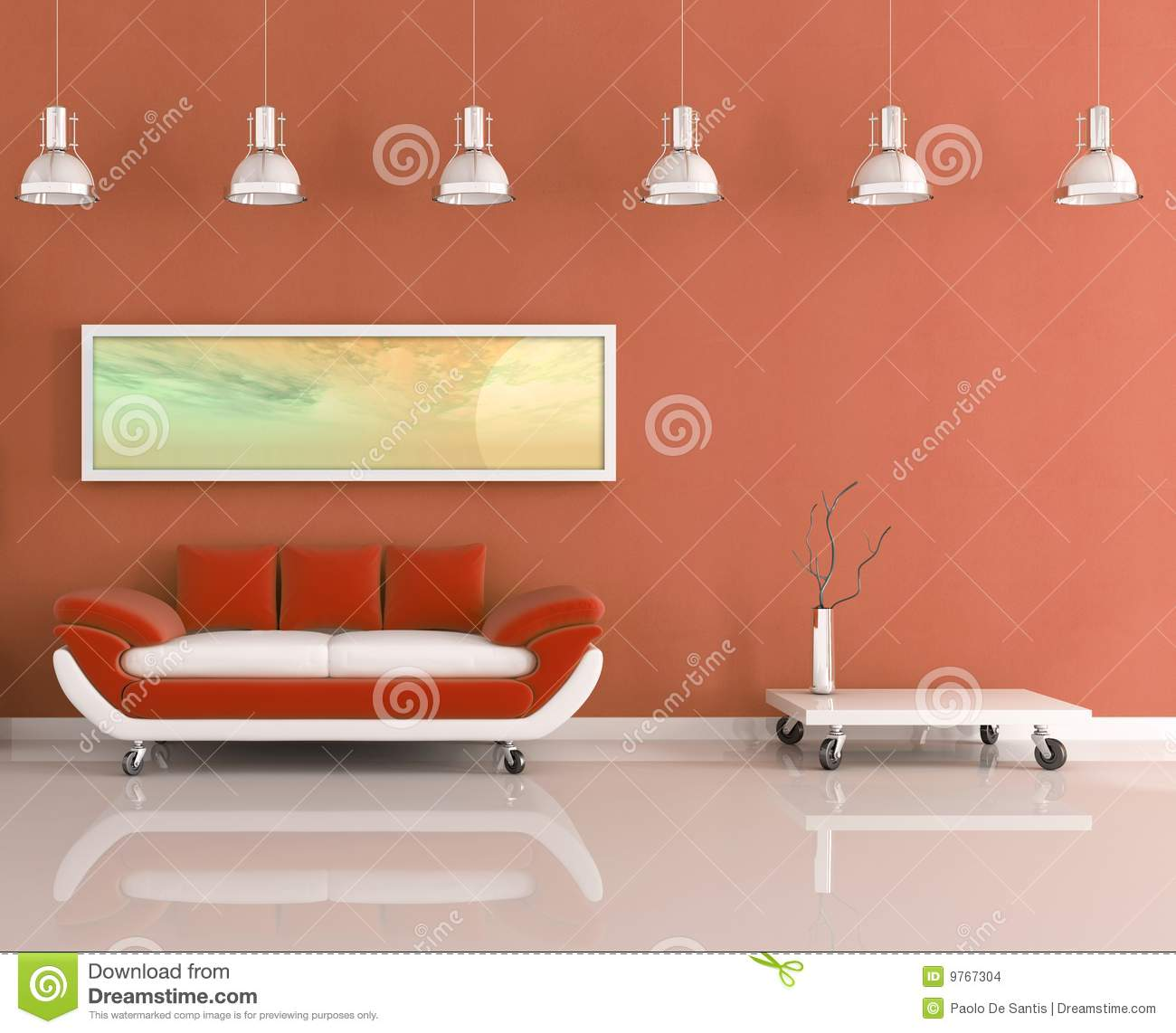 Modern Orange And White Living Room Stock Images Image
