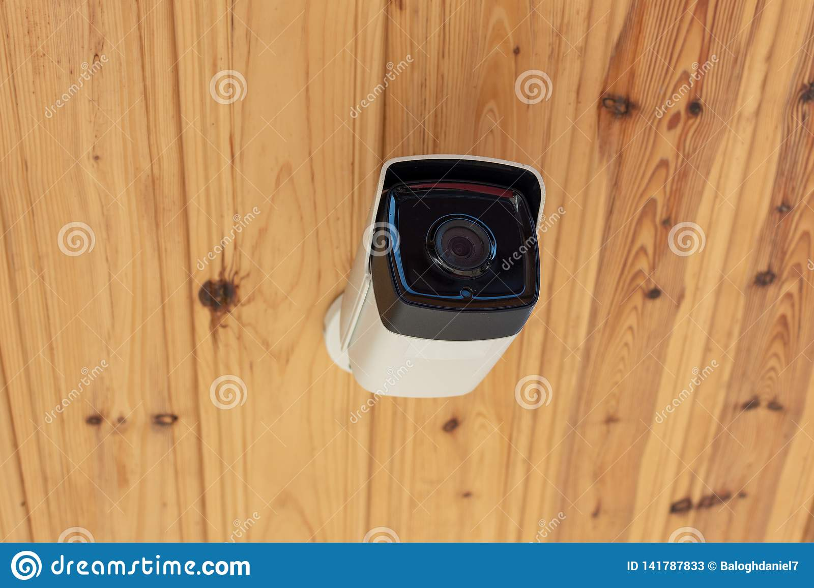 Modern Outdoor CCTV Camera On A Ceiling  Concept Of