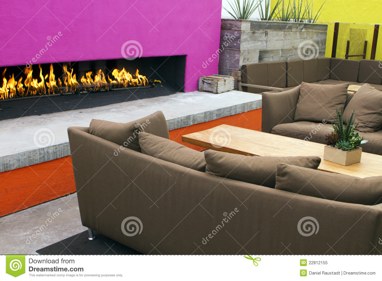 Southwest Home Plans Modern Outdoor Patio Fireplace Royalty Free Stock Photo