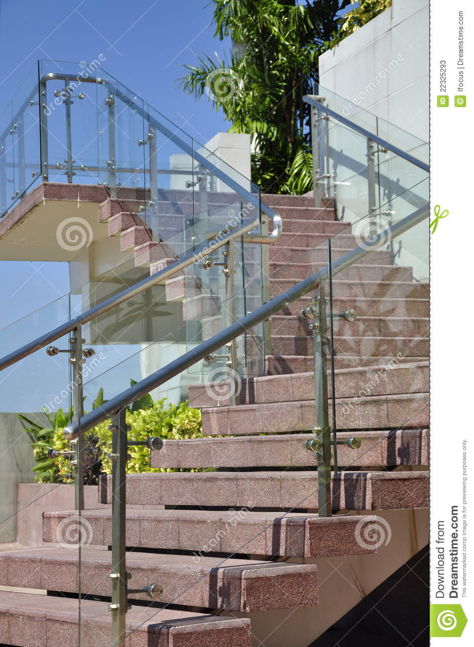 Modern outdoor stairway with glass wall panels stock image for Outdoor glass wall panels