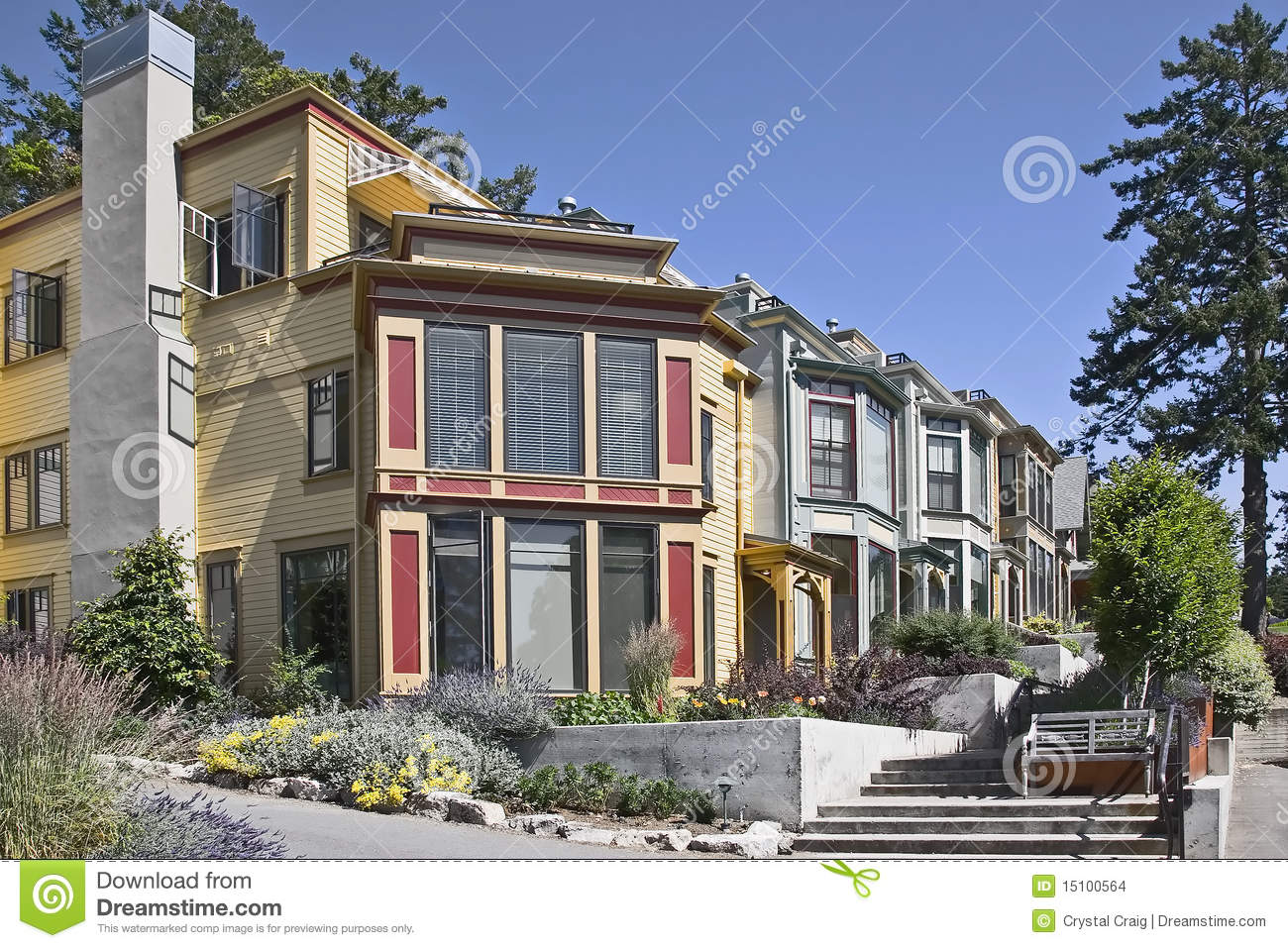 Modern Pacific Northwest Style Town Homes Stock Images