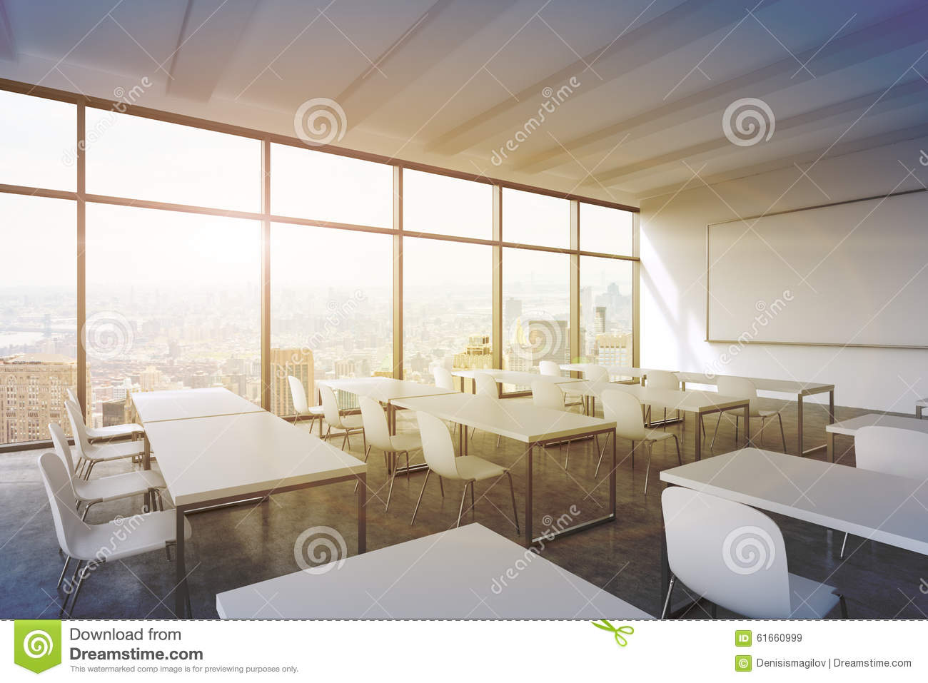 Modern White Classroom ~ A modern panoramic classroom with new york view white