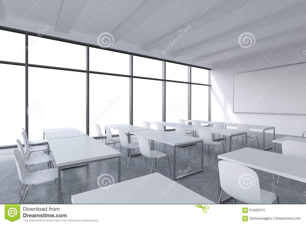 Modern Classroom Tables ~ A modern panoramic classroom with white copy space in the