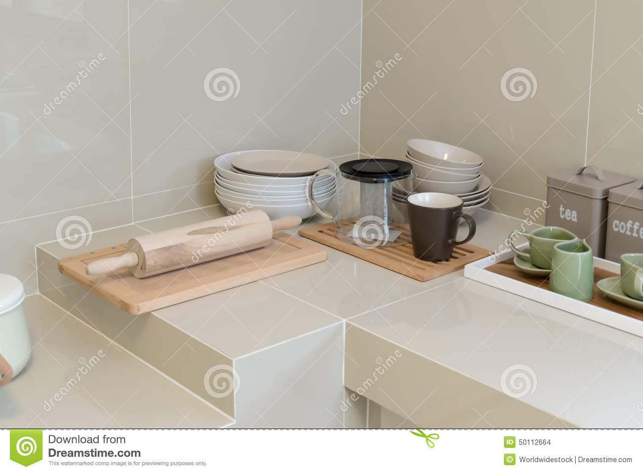 Modern pantry with utensils stock photo image 50112664 for Modern kitchen utensil