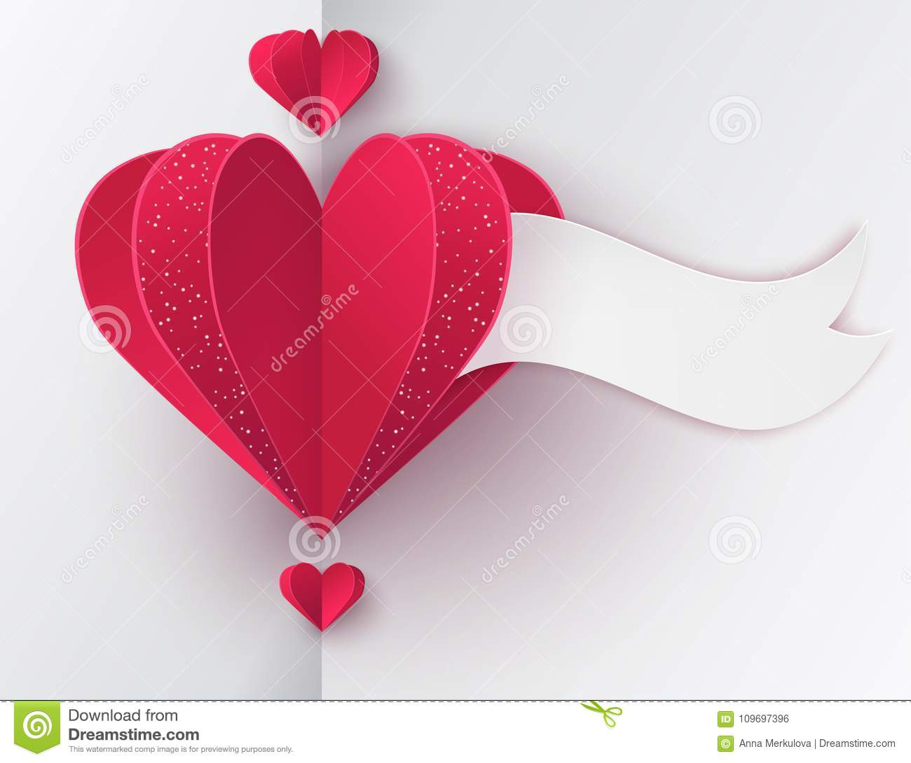 Modern Paper Art Backkground With Paper Folded Hearts Stock Vector ...