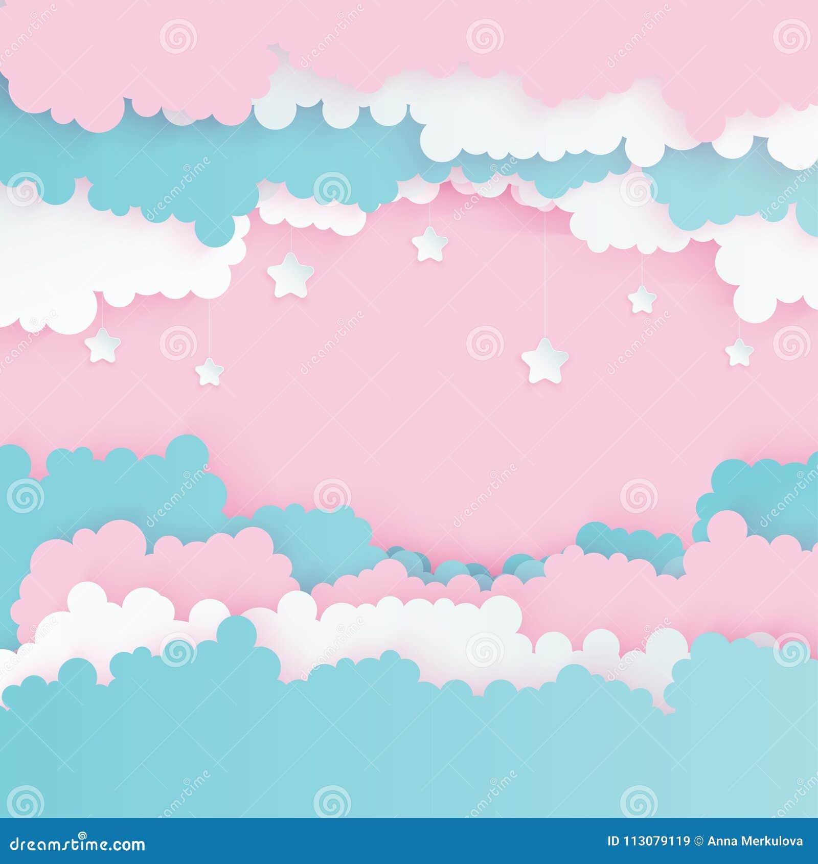 modern paper art clouds with stars cute cartoon sky stock vector