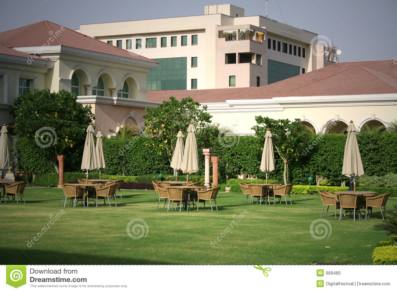 Modern Party Lawn With Architectural Background Royalty