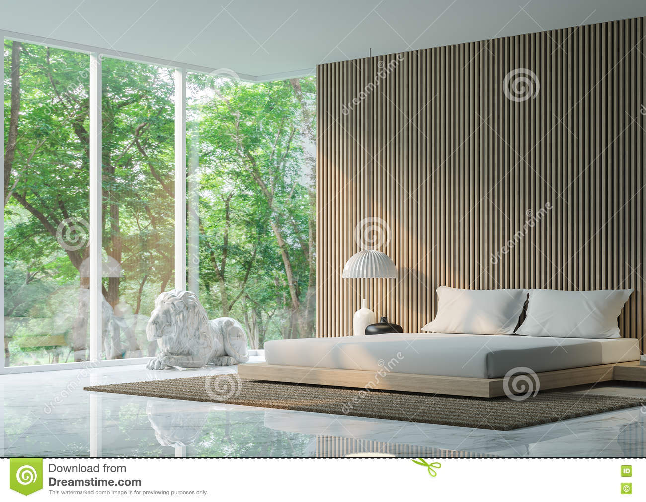 Peaceful Bedroom Modern Peaceful Bedroom In The Forest Stock Illustration Image