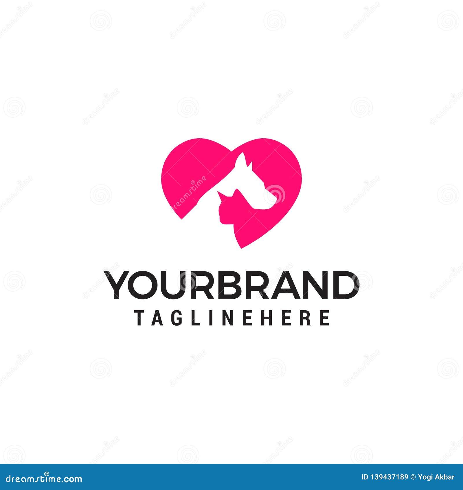 Modern Pet Logo - Love Dog cat logo. Love animal logo design concept