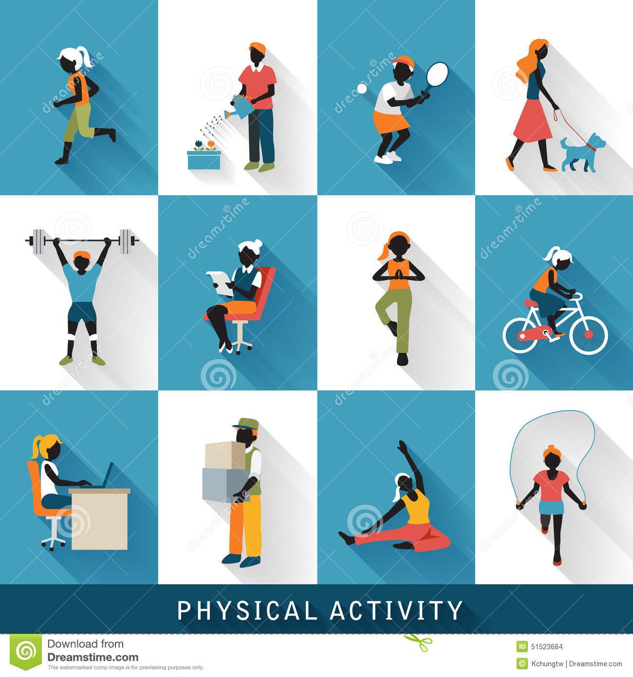 ... physical activity icons set isolated over blue and white background