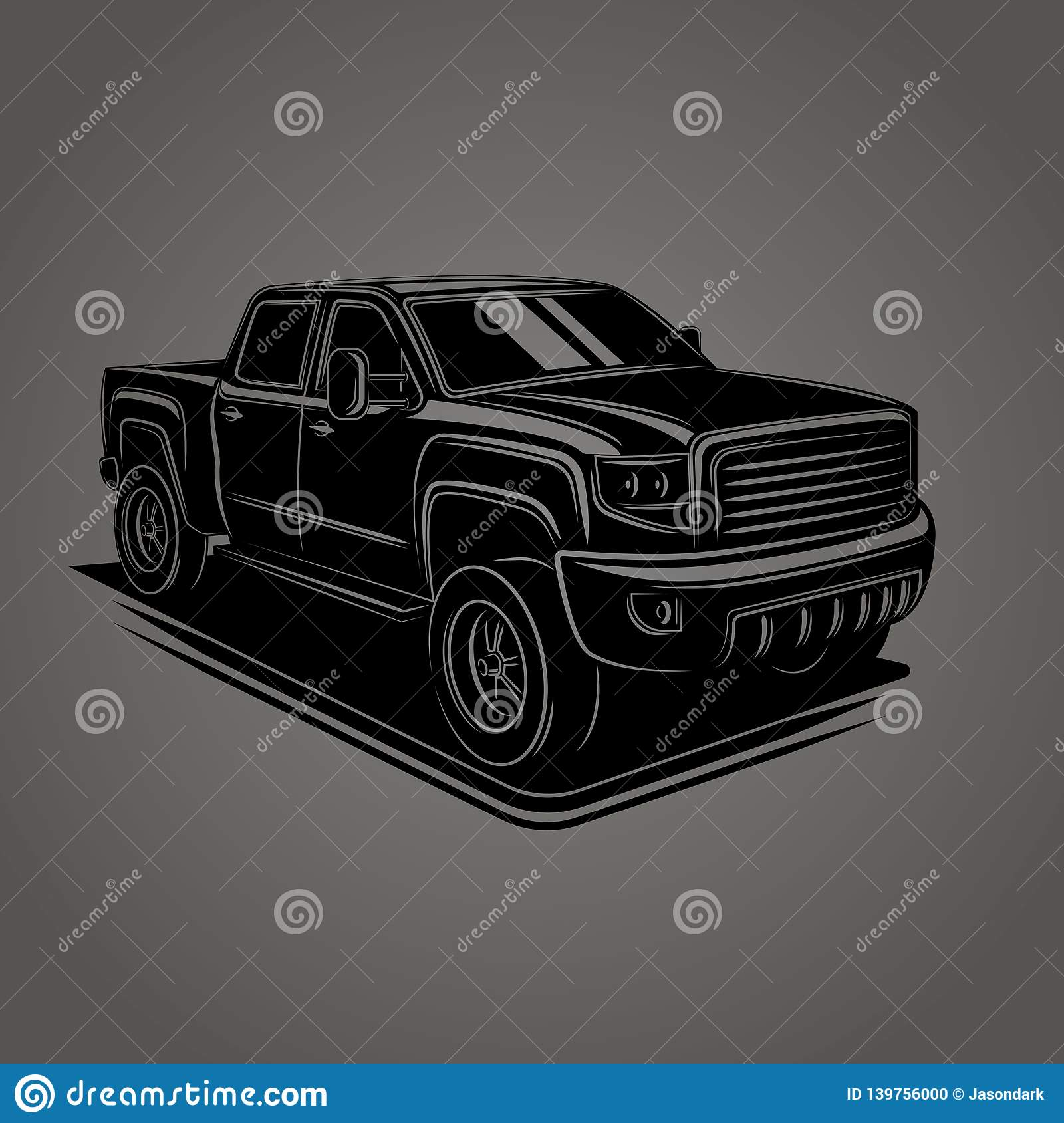Modern Pickup Truck Vector Illustration. SUV 4x4 Offroad