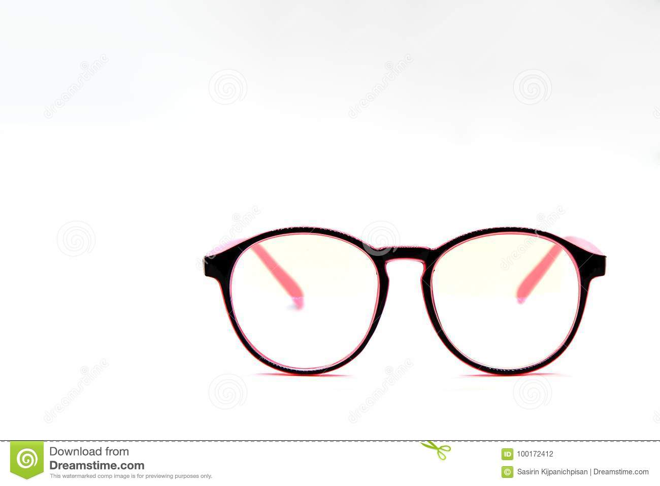 898c84fcb1cb Modern Pink And Black Eye Glasses Isolated On White Background Stock ...