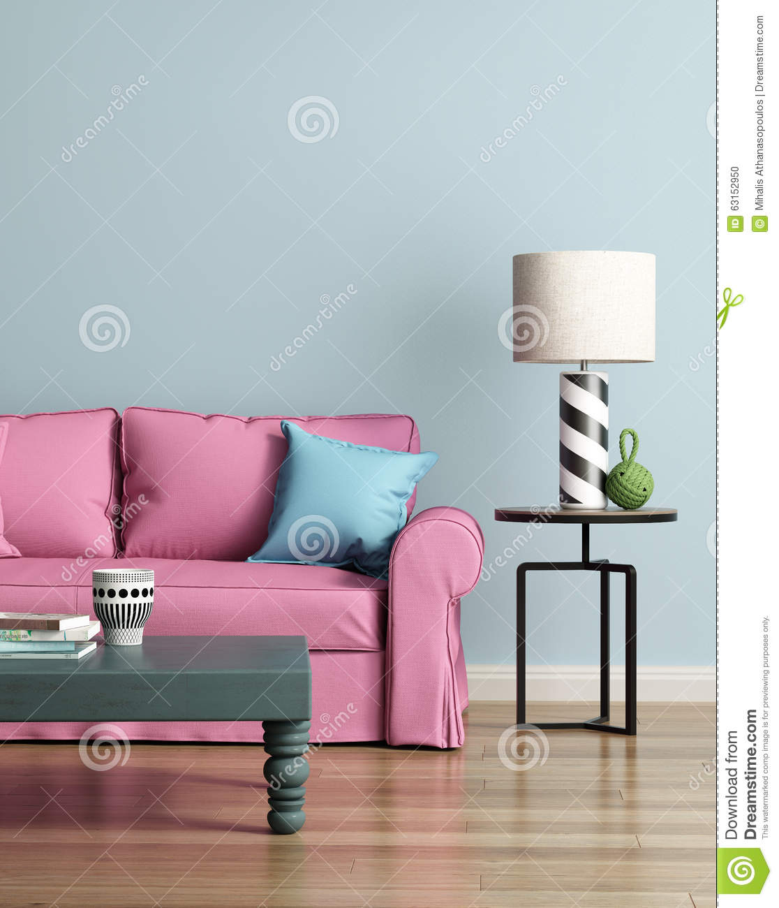 Modern Pink Sofa In A Light Blue Luxury Interior Stock