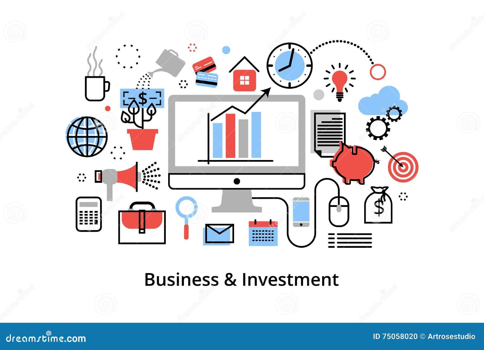 Modern plan tunn linje designvektorillustration, infographic begrepp med symboler av att investera till affären och finansprocess