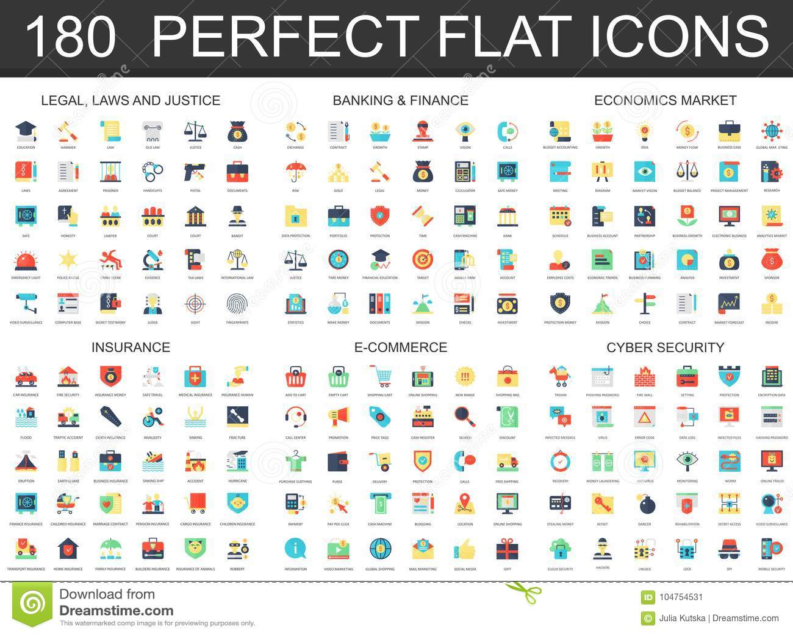 Modern plan uppsättning för symbol 180 av laglig lagrättvisa som packar ihop finans, nationalekonomimarknad, försäkring, e-kommer