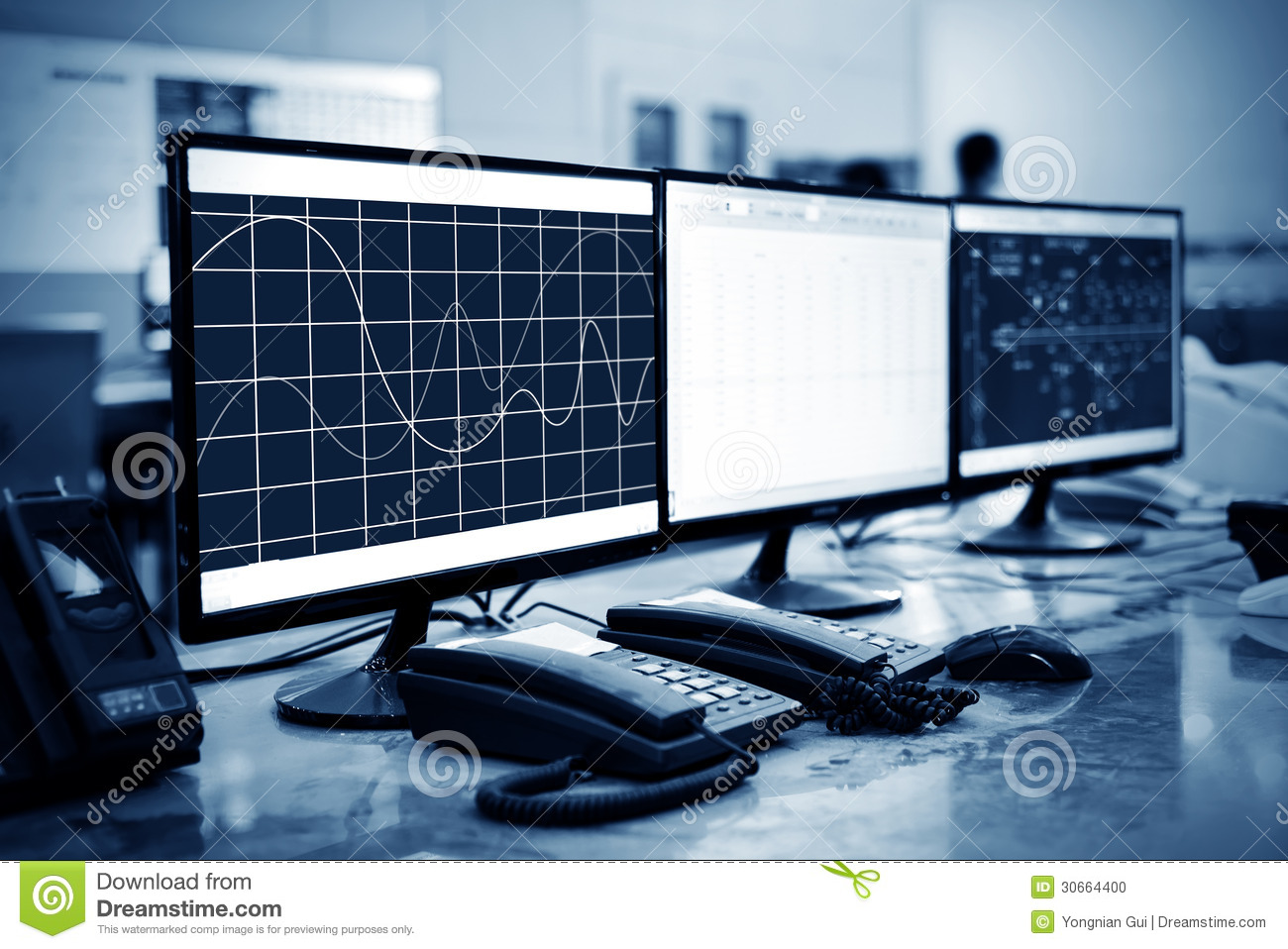 Modern Plant Control Room Stock Photo Image 30664400
