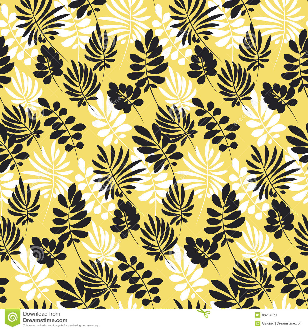 Modern Plant Pattern Yellow And Black Tropical Leaves Stock