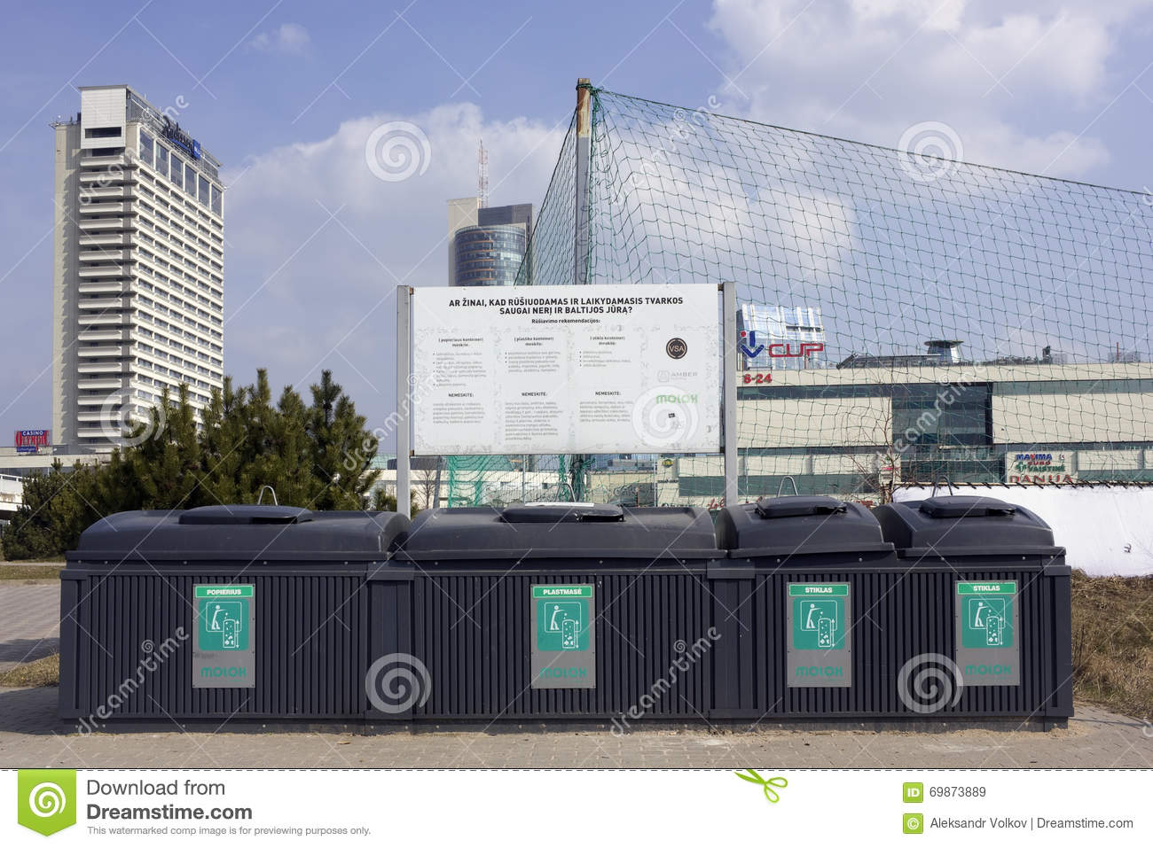 The Modern Plastic Containers For Garbage Editorial Stock Image