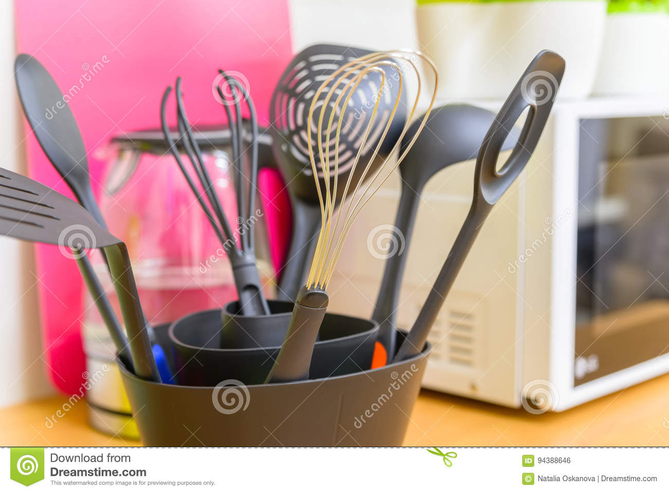 Download Modern Plastic Kitchen Utensils In Stand Stock Photo   Image Of  Color, Group: