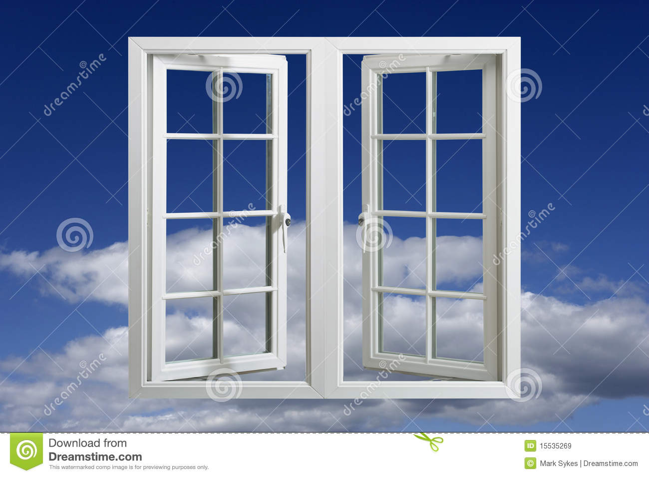 Modern plastic pvc window floating in blue sky royalty for Window plastic