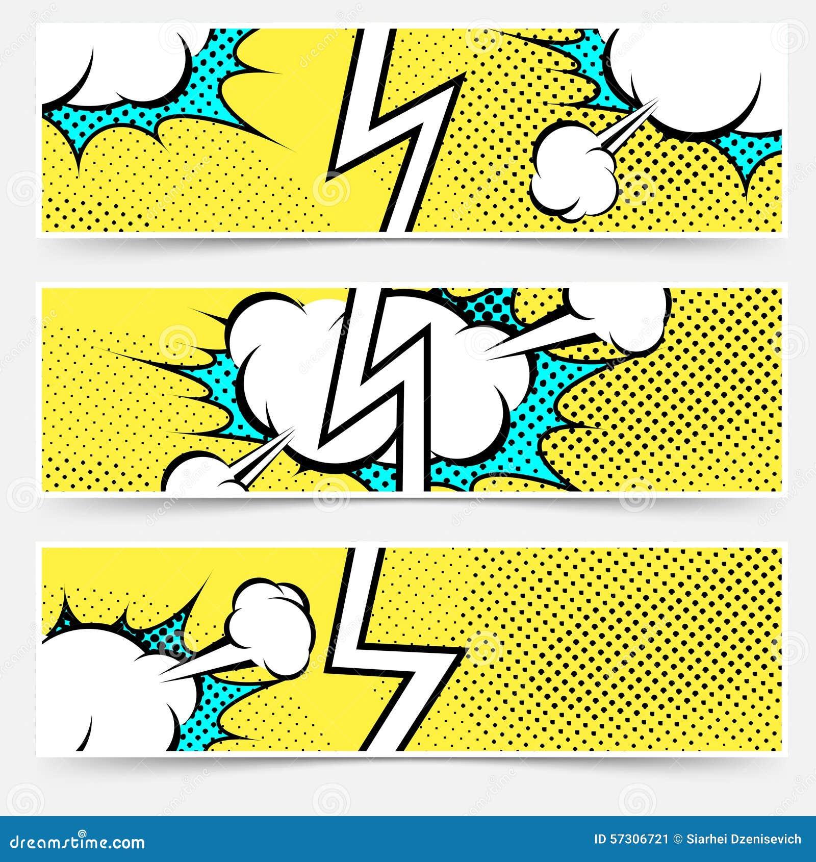 Modern Pop Art Style Apartment: Pop Art Retro Style Web Header Collection Set Cartoon