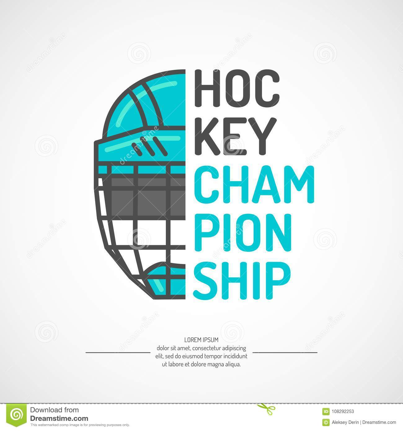 Modern Poster Ice Hockey Championship With The Puck On The