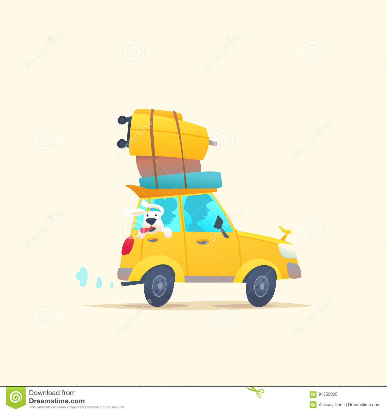 cartoon car packed for vacation stock photo 76013478. Black Bedroom Furniture Sets. Home Design Ideas