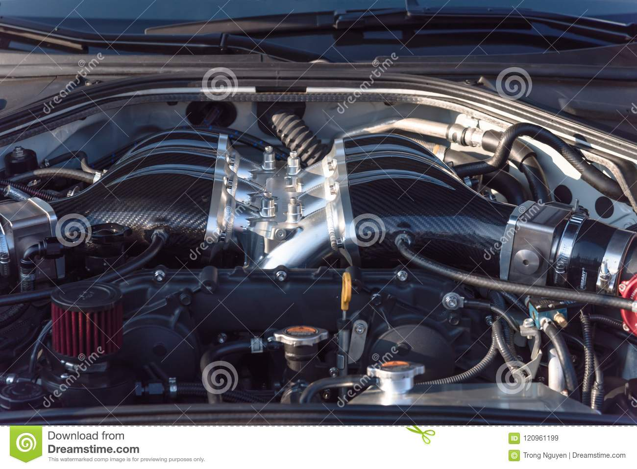 Internal Design Of Car Engine Close-up Stock Image - Image