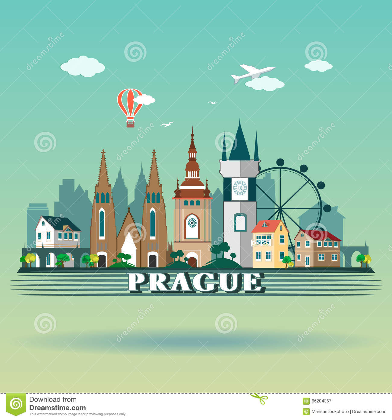 modern prague city skyline design czech republic prague