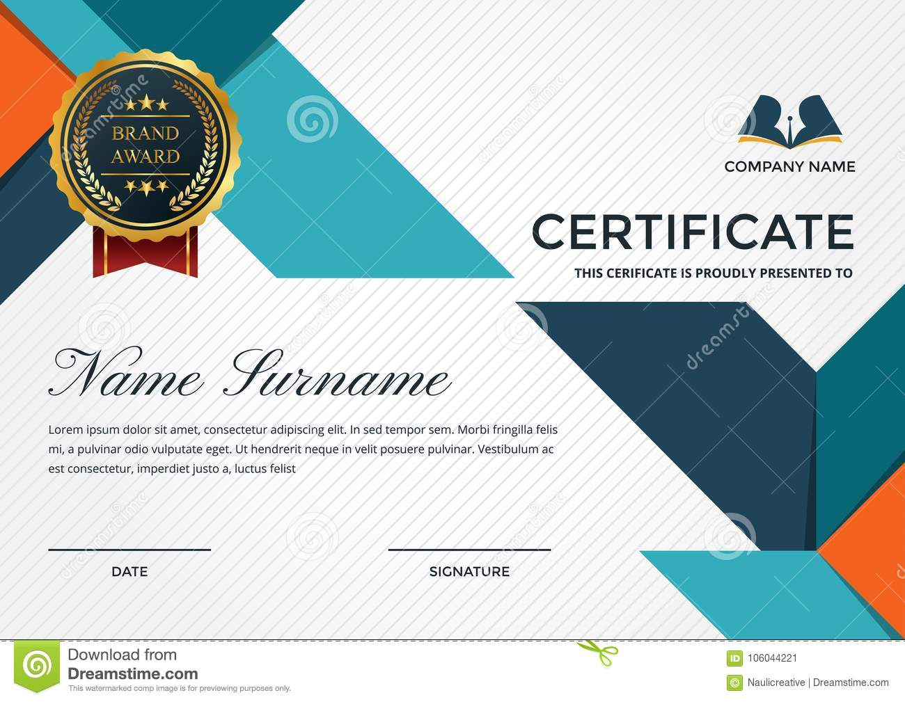 Premium Business Certificate Template With Education Symbol Stock