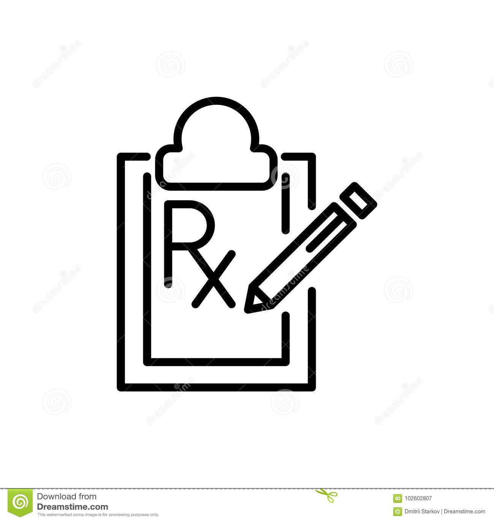 Modern Prescription Line Icon Stock Vector Illustration Of