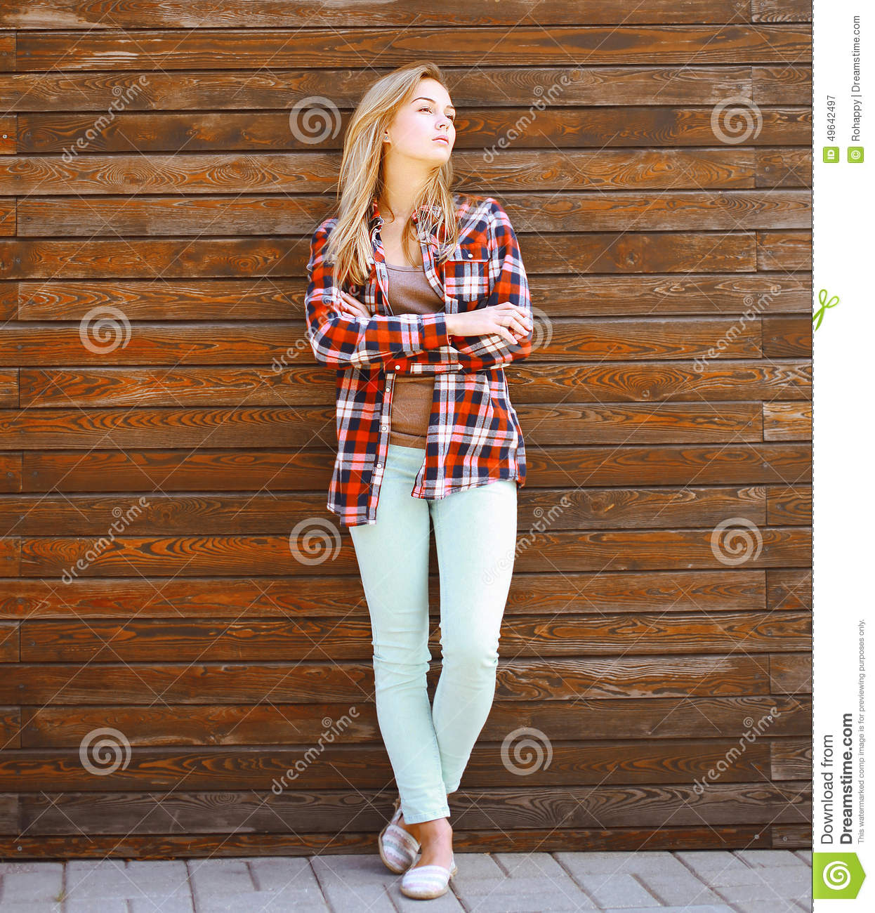 Modern Pretty Hipster Girl In Smart Casual Clothes Stock ...