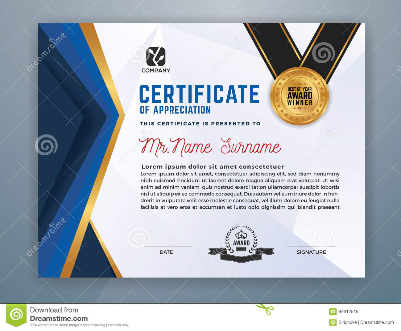 Modern Professional Certificate Template Stock Vector ...