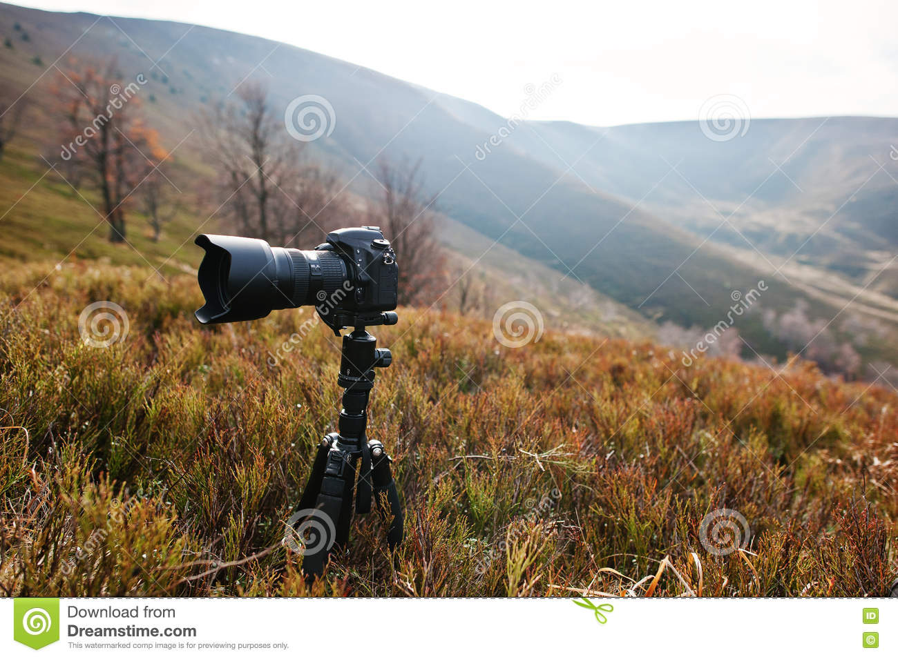 Modern Professional Dslr Camera On A Tripod Outdoor Photography