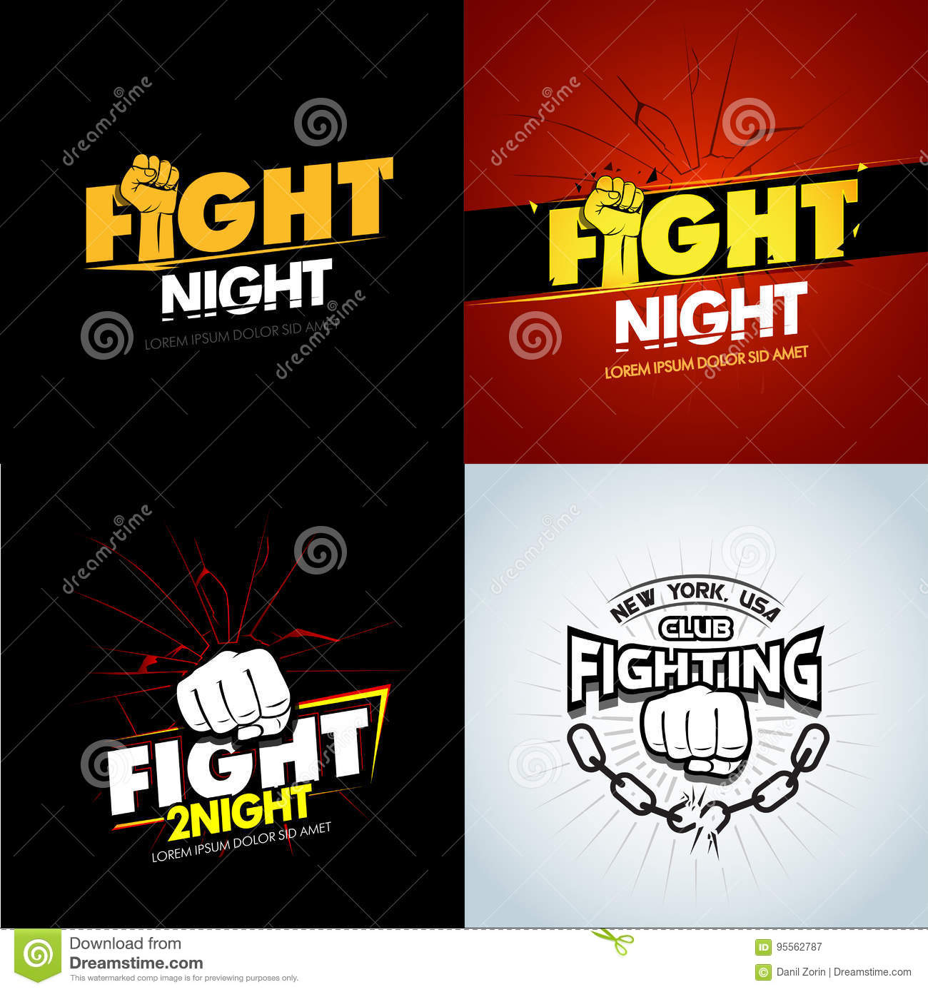 4 modern professional fighting poster templates logo design with