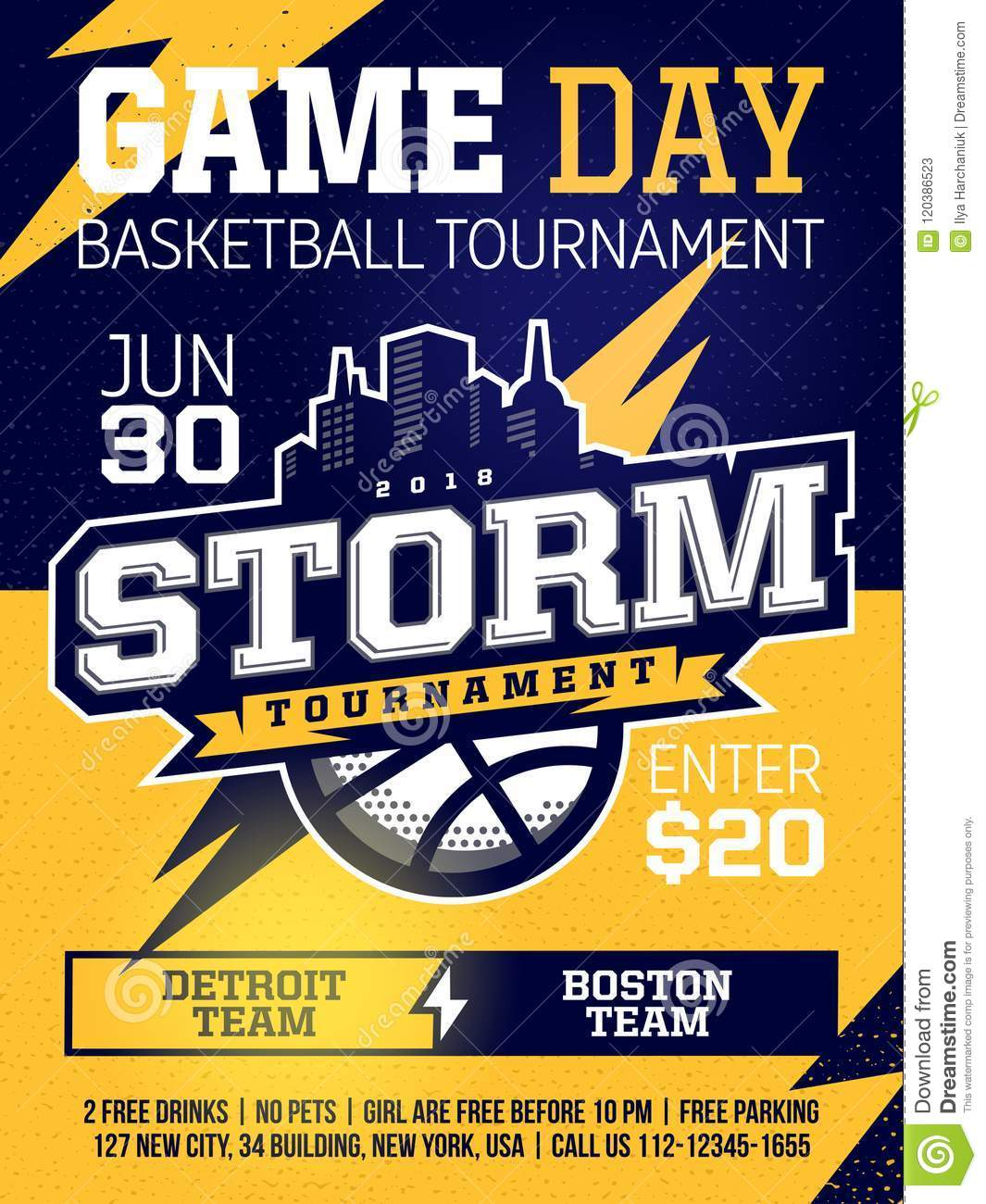 modern professional sports design poster with basketball tournament