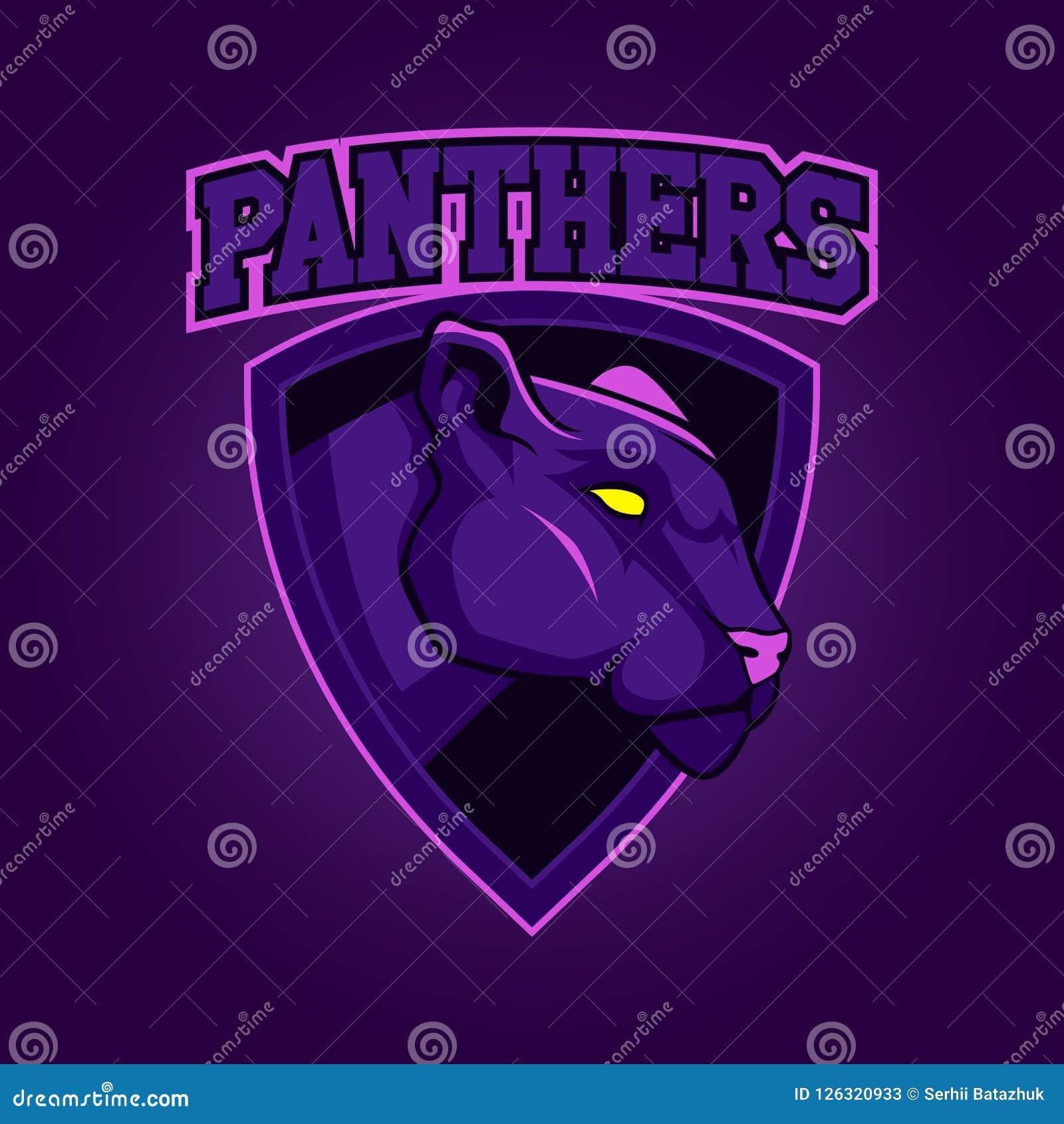 Modern professioneel embleem voor sportteam Pantermascotte Panters, vectorsymbool op een donkere achtergrond