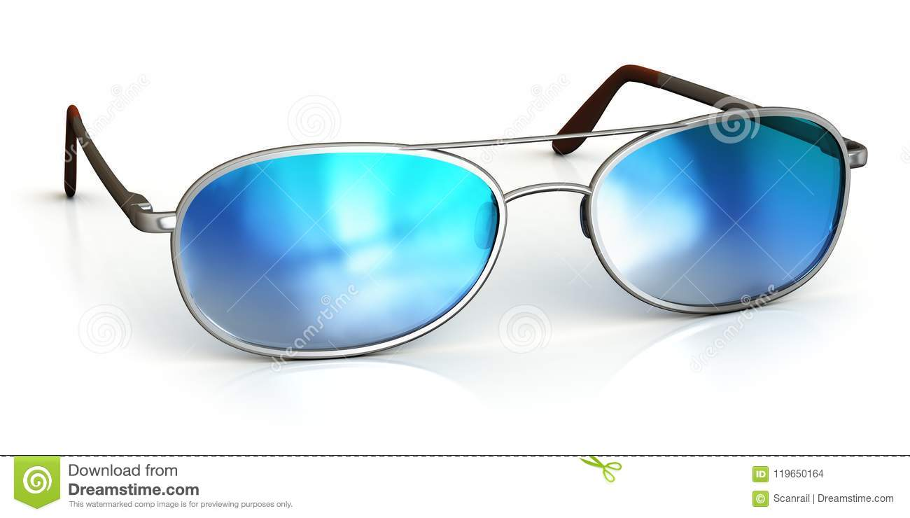 de977c257c5 Creative abstract 3D render illustration of modern blue reflective  protective sunglasses or eyeglasses isolated on white background with  reflection effect