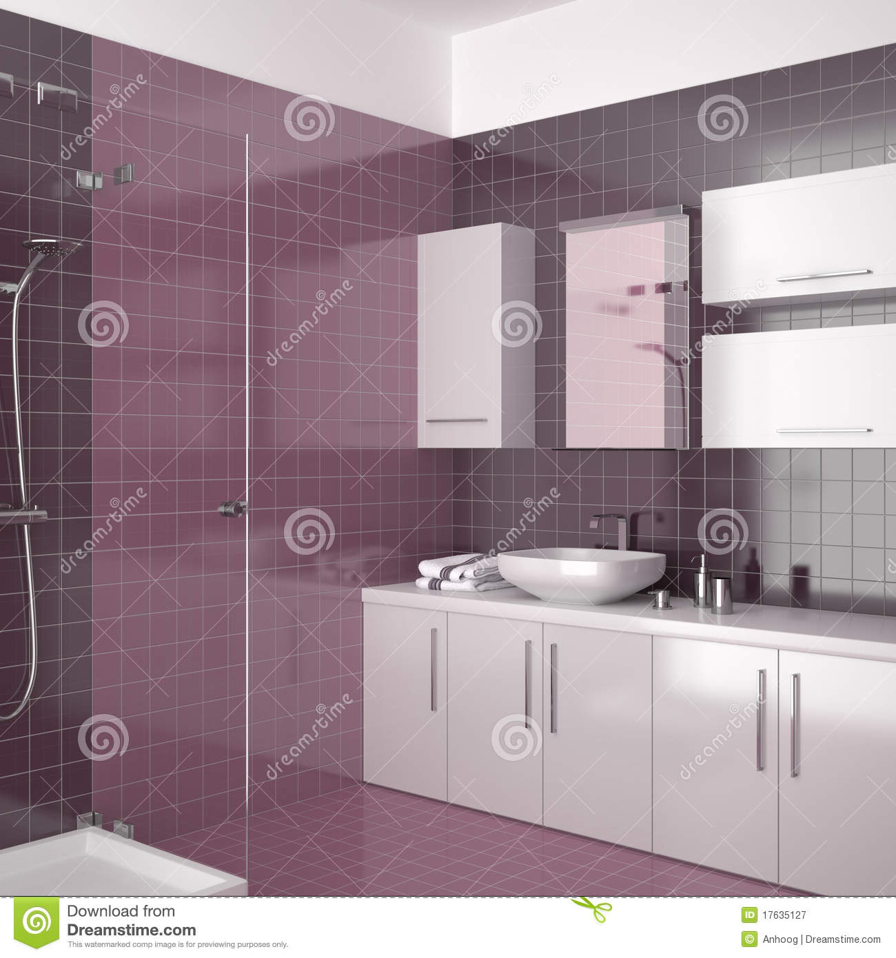 Modern purple bathroom with white furniture stock for Purple glass bathtub
