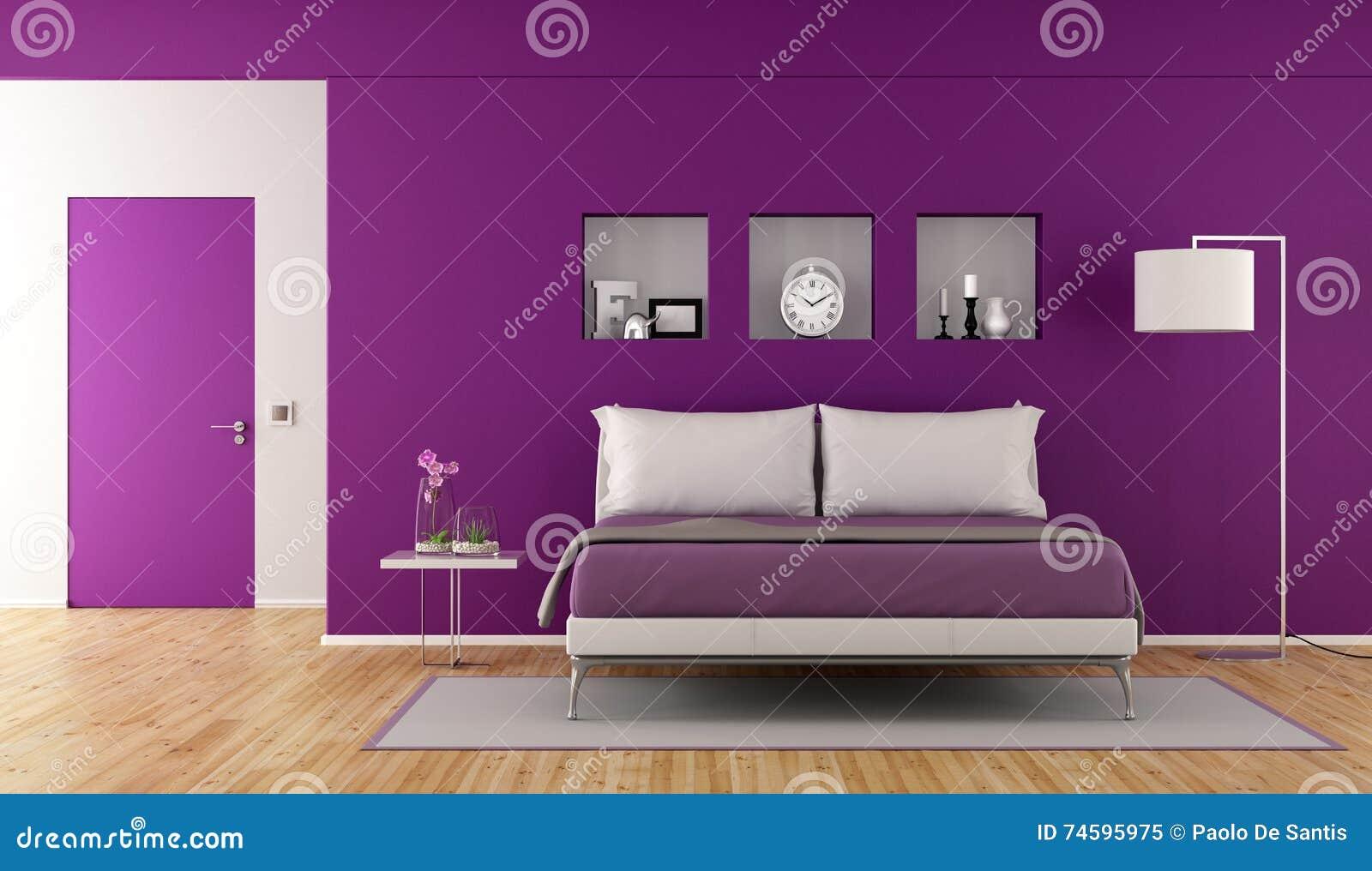 . Modern purple bedroom stock illustration  Illustration of decor