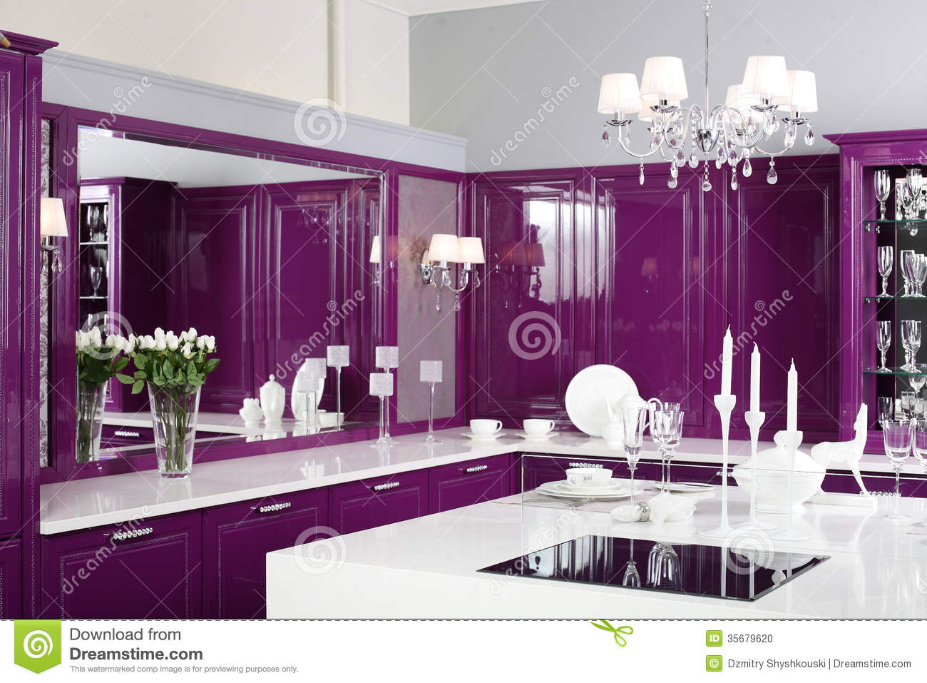 Modern purple kitchen with stylish furniture stock photo for Stylish furniture