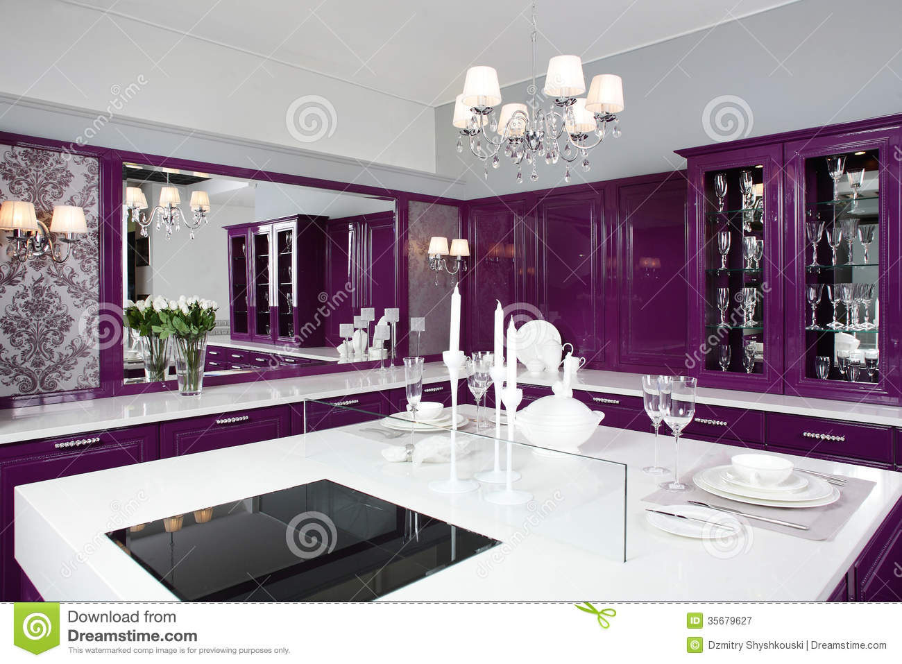 Modern Purple Kitchen With Stylish Furniture Stock Image