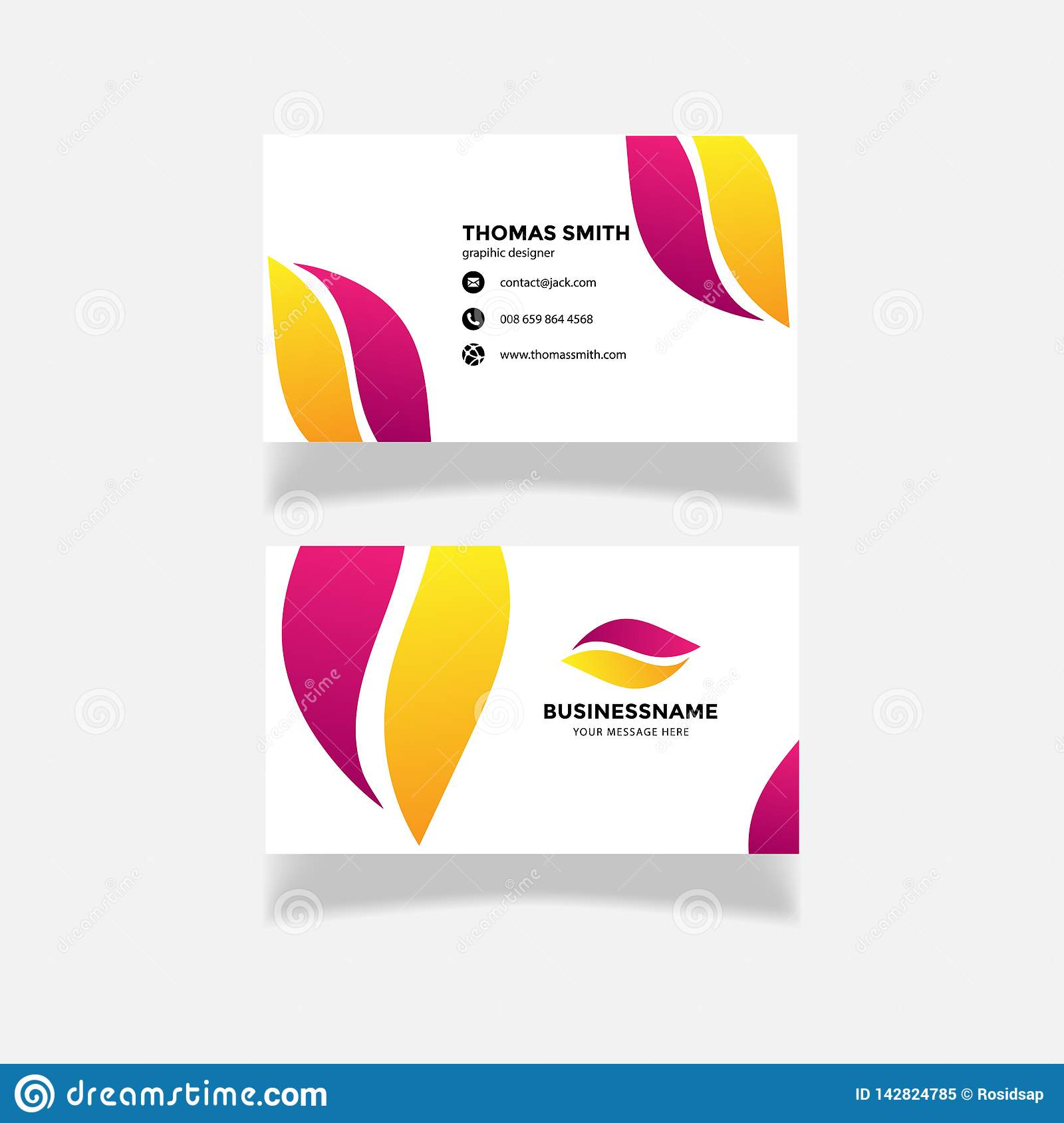 Modern purple yellow business card template. flat design, logo creative abstract vector-vector