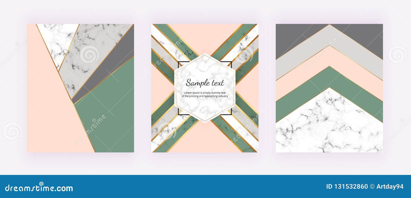 Modern räkning med geometrisk design, guld- rosa, gråa och gröna triangulära former för linjer, Modebakgrunder för inbjudan, wedd