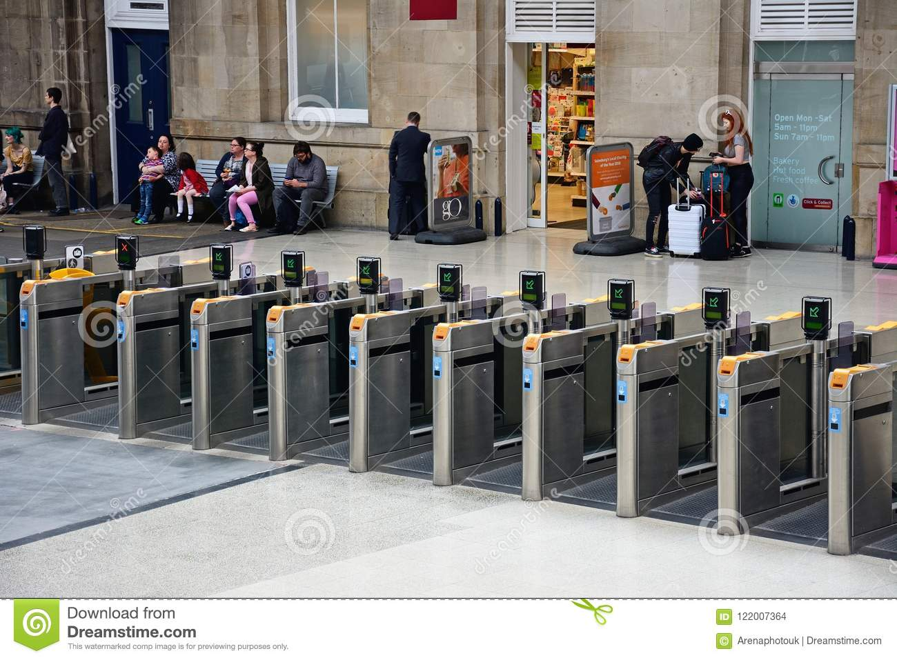 Modern Railway Ticket Barriers, Newcastle Upon Tyne  Editorial Stock