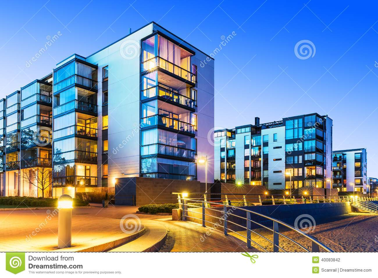 Modern real estate stock photo image of evening for Building an estate